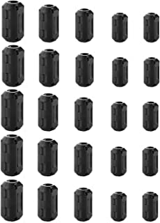 25 Pieces Clip-on Ferrite Ring Cores - DGQ RFI EMI Noise Suppressor Cable Clip for 3.5mm/ 5mm/ 7mm/ 9mm/ 13mm Diameter Led Light Radio Static