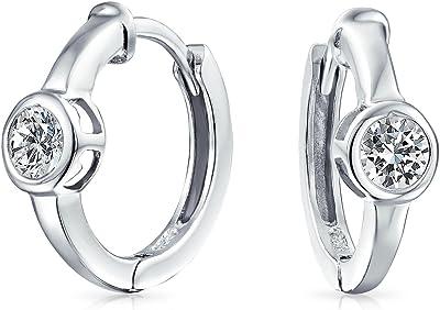 Orecchini a cerchio Kpop Huggie Round Solitaire Set da 6 MM per donna Cubic Zirconia Argento Placcato 925 Sterling Silver