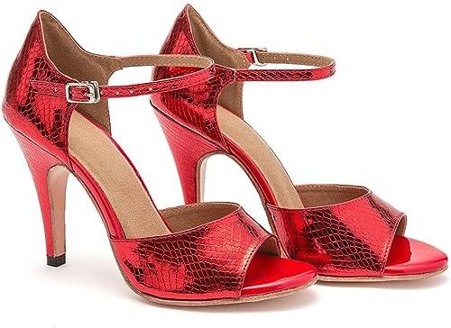 QWERTYUIOP Wohommes Chaussures De Danse Latine,Fond Mou Cuir Chaussures De Danse High Heels Serpentine Chaussures De Tango