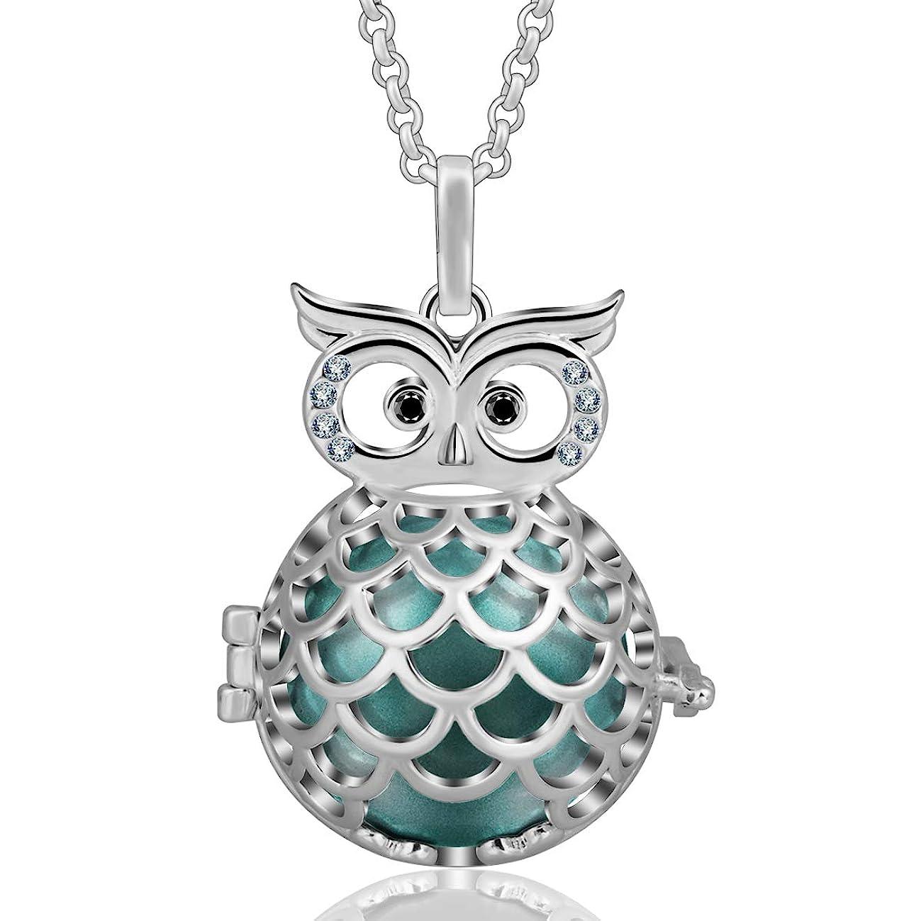 EUDORA Harmony Ball Wise Owl 20mm Pendant Pregnancy Long Necklace Mexico Bola Chime 45
