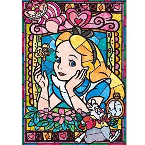 5D Diamond Painting Full Drill, Disney Alice Princess Girl DIY Diamond Painting by Number Kits, Rhinestone Crystal Drawing Gift for Adults Kids, Bordado Kit Home Wall Decor 12 X 16 inch