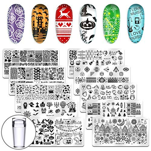 Biutee Nail art kit, 10 pcs Stempelschablonen und 8 Fraben Stamping Gel (10 pcs Schablonen kit)