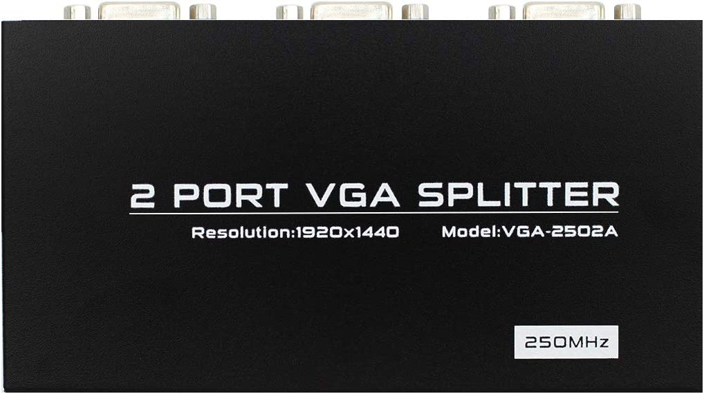 Powered 1 in 2 Out VGA Video Splitter Distribution Box Signal Copy with Power Adapter 250mhz High Resolution 1920X1440