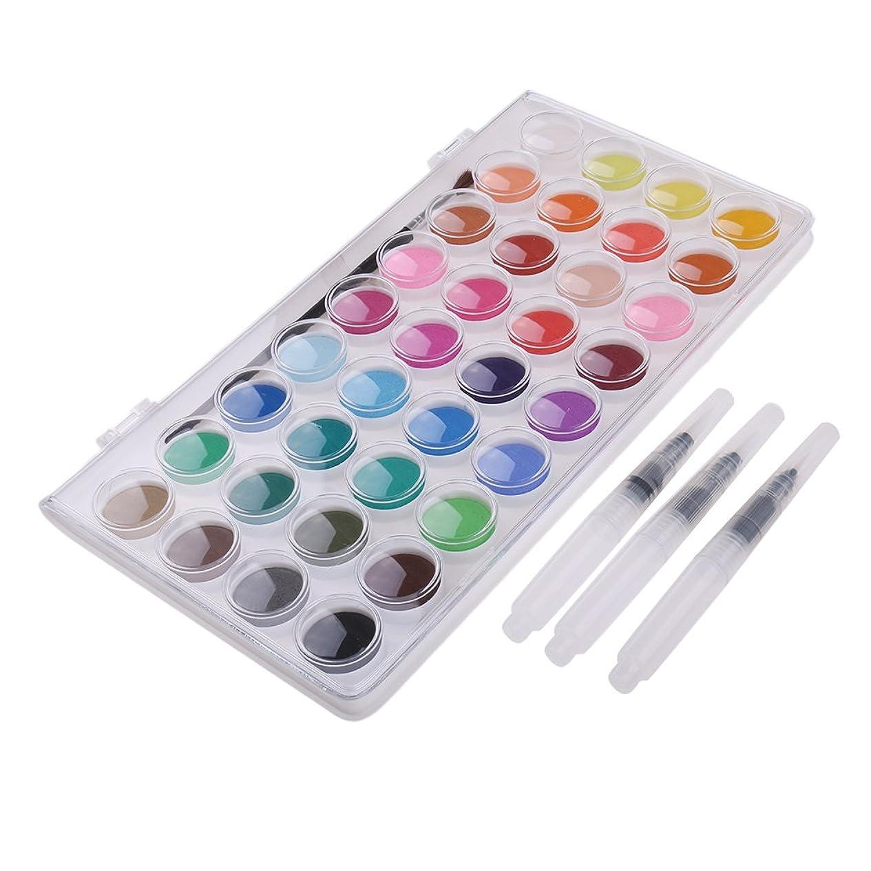 物理的に丈夫見積りdailymall 水彩絵の具は水ブラシのペンの絵画芸術家のキットとの36色を置きました