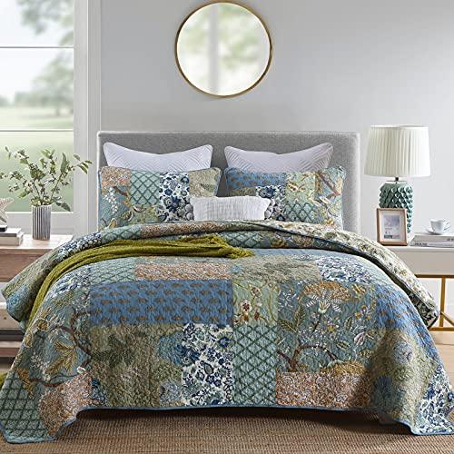 WONGS BEDDING Tagesdecke 240x260 Baumwolle Patchwork Bettüberwurf Wendedesign Bettdecke Boho Sofaüberwurf Vintage Wohndecke Gesteppte Decke Set mit 2 Kissenbezüge 50x70cm