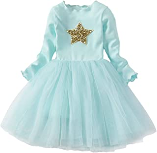 TTYAOVO Girls Longsleeve Winter Clothes Toddler Flower Tulle Layered Casual Dress
