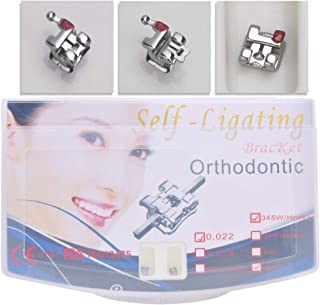 Anhuadental Orthodontic Self-Ligating Metal Bracket 0.022 MBT 345 with Hooks(20 Brackets/Pack)