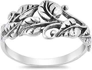Oxidized Tree Leaf Vine Forest Filigree Ring 925 Sterling Silver Band Sizes 5-10