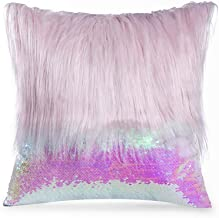 Long Plush Fluffy Sequin Cushion Cover Fish Scale Glitters Pillowcase Living Room Sofa Plush Throw Pillow Cover 45x45cm,450mm450mm,Pink