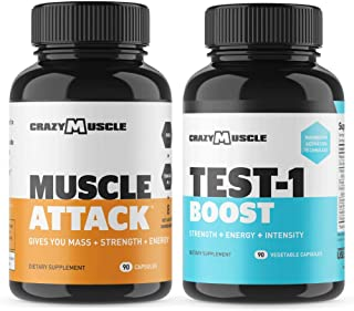 Bundle for Muscle Growth (2 Products Included) by Crazy Muscle - Muscle Attack (90 Count) + Testosterone Tablets (90 Count)