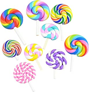 ULTNICE 36Pcs lollipop Prop Clay Candy Embellishment Rainbow Swirl Lollipop Lolly Random