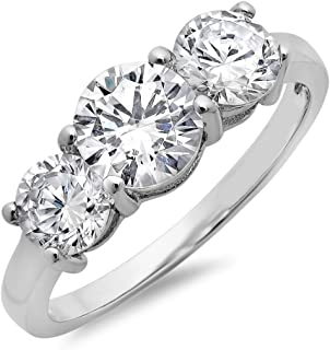 Sterling Silver Three Stone Past Present and Future Cubic Zirconia Ring (Sizes 5-8) 4ct TGW