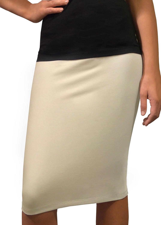 Kosher Casual Women's Modest KneeLength Fitted Lightweight Cotton Lycra Pencil Skirt