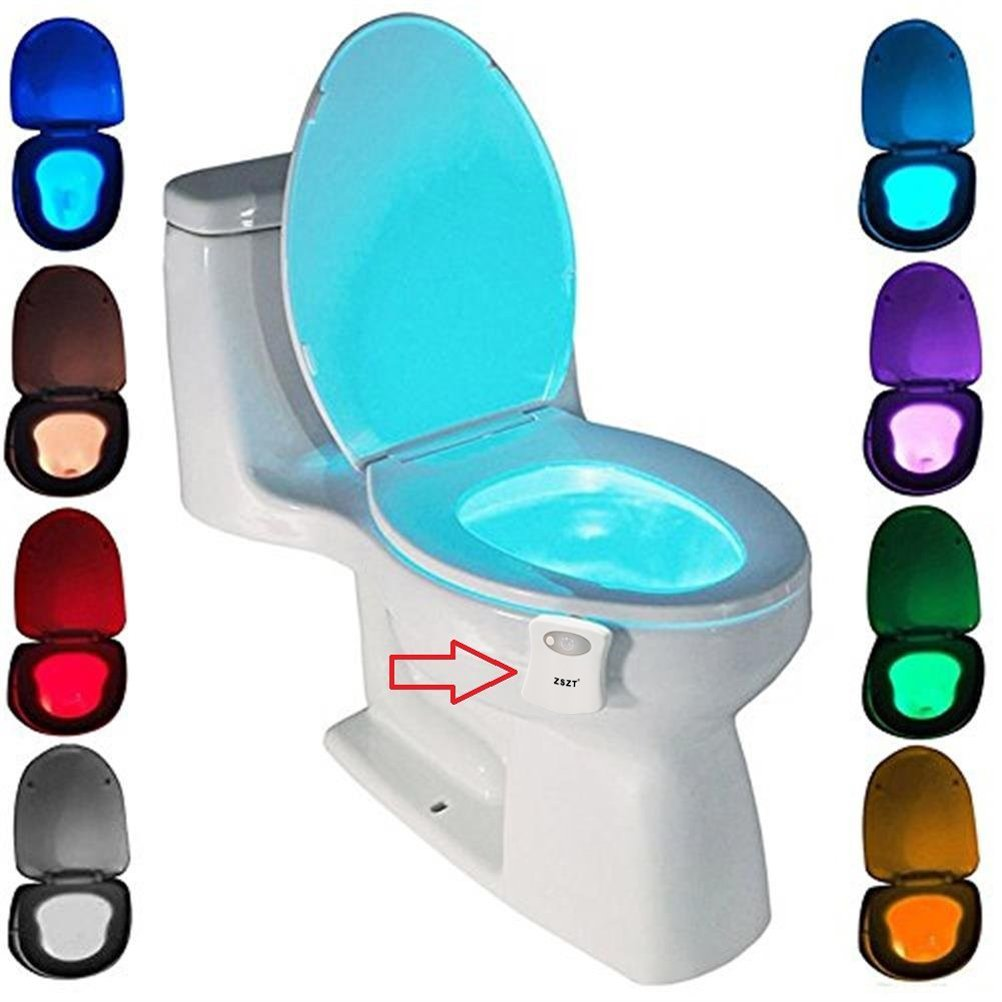 TM Led Toilet Light,Motion Activated Toilet Night Light,8 Color Changing Rechargeable Toilet Night Light,Toilet Seat Bowl Light,White,niceeshop
