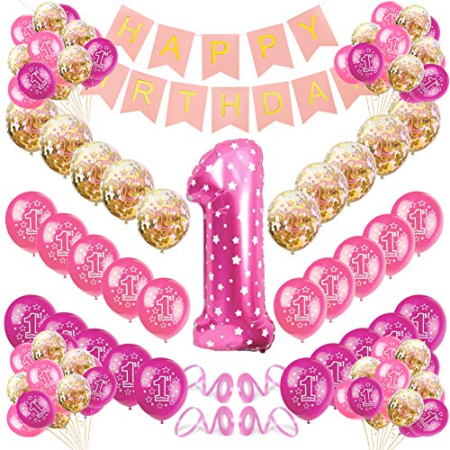 Sunshine smile Geburtstagsdeko 1 Jahr Mädchen, Deko 1. Geburtstag, Luftballon Rosa Konfetti zum 1. Geburtstag Party Kindergeburtstag Happy Birthday Dekoration Erster Geburtstag