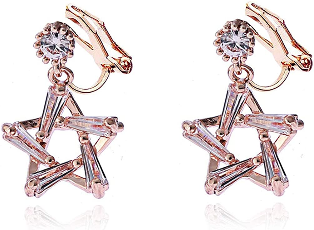 Cubic Zirconia Star Clip on Earrings no Pierced Rubber Pads Crystal Women Girl Rose Gold Plated Pentagram