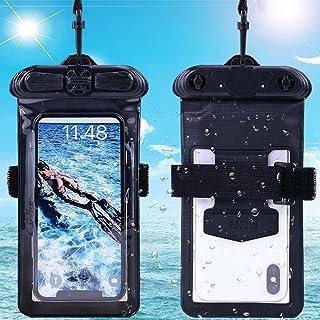 Vaxson Telefonfodral med armband svart, kompatibel med MEIZU 15 MX vattentät påse torr väska hållare [INTE skärmskydd film]