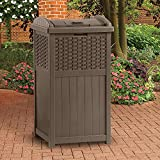 ANA Store Brown Outside Junk Sack Stash Wicker-Work Trash Hideaway 33 Gallon Capacity Resin Rattan Outdoor Garbage Container