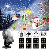 Albrillo Projecteur de Noël LED - 8 Diapositives + Neige Dynamique, Lampe Projection Décorative pour Intérieur et Extérieur, Chute de Neige Lumière Éclairage avec Télécommande et Hydrofuge