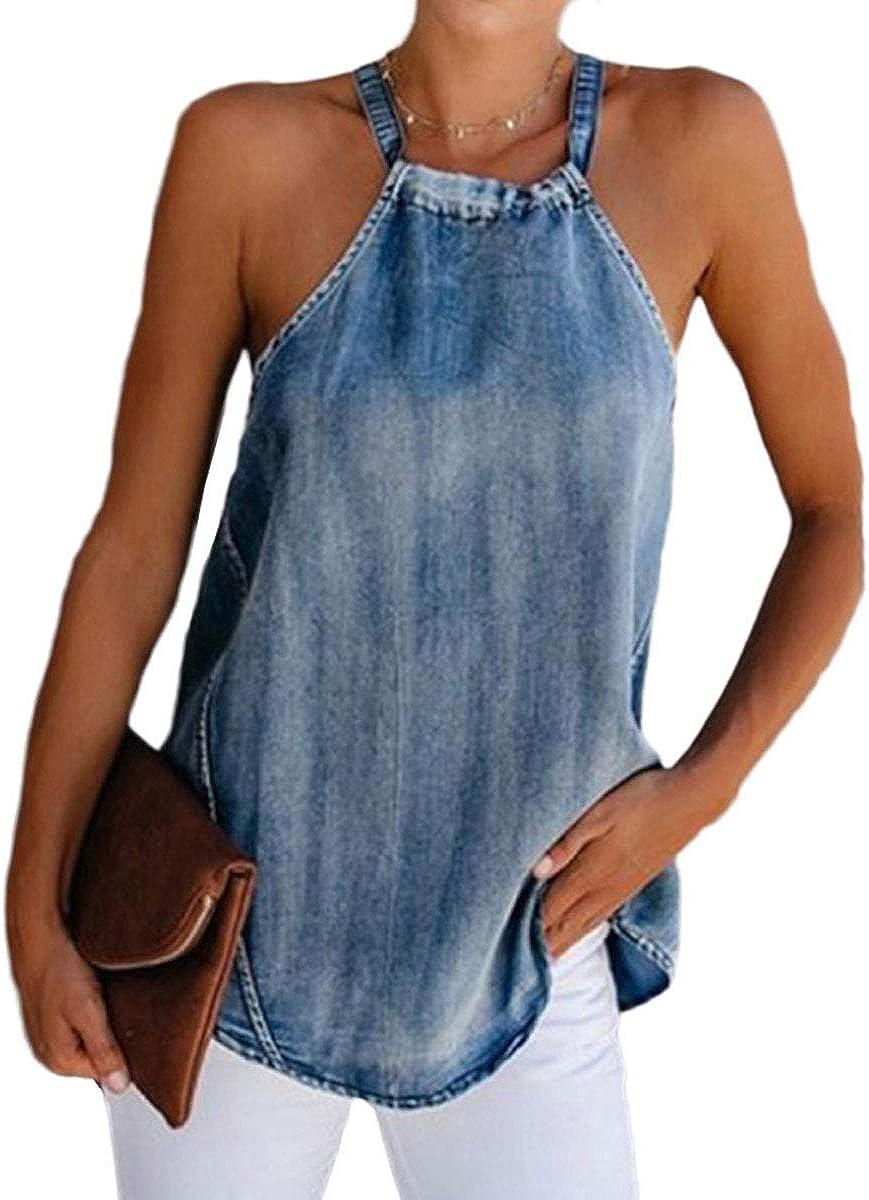 Women 's Sexy Halter Denim Vest Fashion Off-Shoulder Solid Color Backless Lace up Bottoming Top