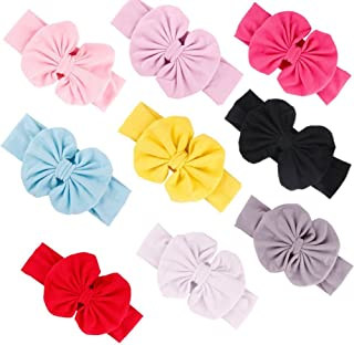GBATERI 9 Pack Baby Girls Big Bow Cotton Baby Headbands Soft Turban Knotted Hairband Headwrap Bow Hair Hoops for Toddler Babies Kids Gift Set