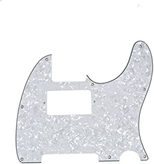 Musiclily 8 Hole Guitar Telecaster Pickguard Humbucker HH Scratch Plate for Fender USA/Mexican Standard Tele Parts, White Pearl 4 Ply