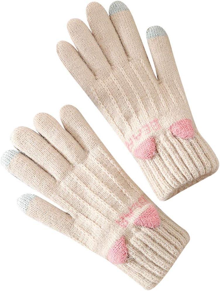 EODNSOFN Sagace Winter Outdoor Gloves Girl Knitted Finger CatS Print Winter Gloves Soft Warm Mitten Keep Warmп (Color : C)