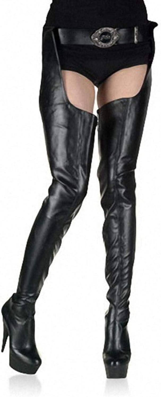 Women's sexy thigh high tube with belt platform shoes high heels