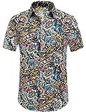 SSLR Camisa de manga corta para hombre, estampado de flores, estilo informal, abotonada