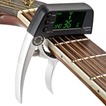 HY Cejilla Afinadora de Guitarra Eléctrica 2 en 1 con Pantalla LCD, Afinador de Cebo Profesional Apto para Guitarra Acústica o Folk, Banjo, Ukelele, Guitarra Clásica