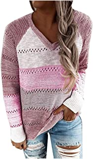 Fossen Sudaderas Mujer Cremallera Tallas Grandes Color de Costura, Jerséis Mujer Originales Suéter de Punto Ahuecado con C...