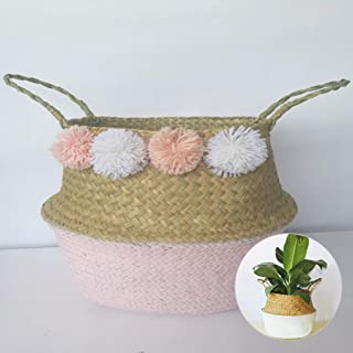 Natural Seagrass Storage Basket, Basket with Handles Foldable Woven Basket for Laundry, Toys or Planter,Nursery Basket with Pom Pom Decoration(Pink)