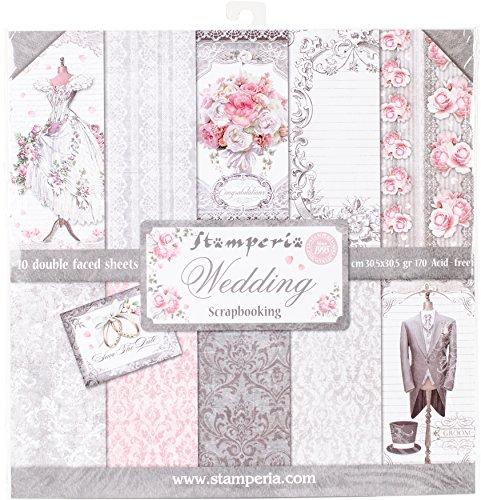 Stamperia Wedding Papierblock 10 Blätter doppelseitig Hochzeit, Papier, Mehrfarbig, 30 x 30