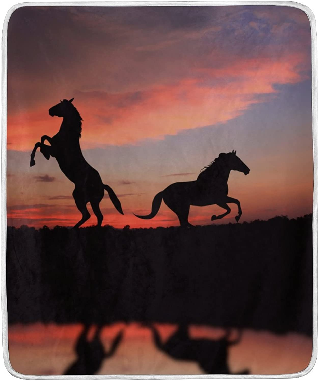 ALIREA Horse Over Sunset Super Soft Warm Blanket Lightweight Throw Blankets for Bed Couch Sofa Travelling Camping 60 x 50 Inch for Kids Boys Girls