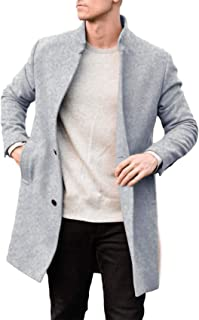 Makkrom Mens Classic Business Trench Coat Single Breasted Overcoats Heavyweight Slim Fit Winter Long Pea Coats