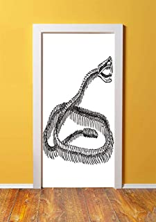 Reptile 3D Door Sticker Wall Decals Mural Wallpaper,Black and White Reptile Skeleton Illustration Moving on the Ground Wild Exotic Snake,DIY Art Home Decor Poster Decoration 30.3x78.7737,Black White