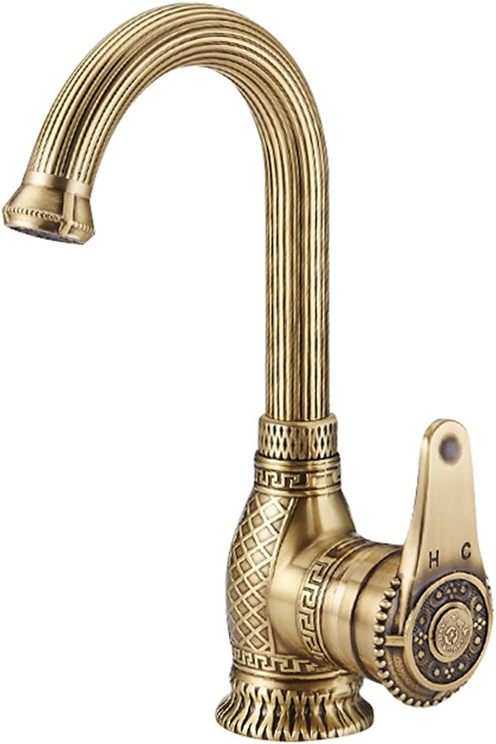 Neilyn Full Copper Vintage Faucets Tap Hot and Cold Water Basin European Retro Washbasin Mixer Taps Single Handle Single Hole 360 Degree redatable Vintage Faucet High-grade Water-saving ( Size   S )