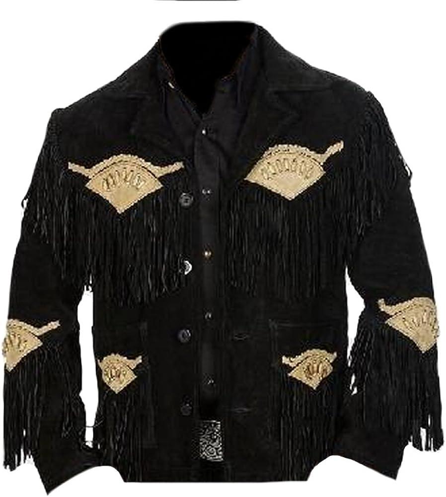 SleekHides Men's Western Cowboy Suede Leather Jacket
