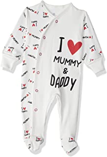 Jockey I Love Mummy and Daddy Letter Print Long Sleeves Front Snap Closure Unisex Romper - White, 3-6 Months