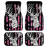 FKELYI Universal Car Floor Mats Carpet Set with Pink American Flag Camo Deer Hunting Design Water Absorbent Auto Interior Rugs Fit All Weather
