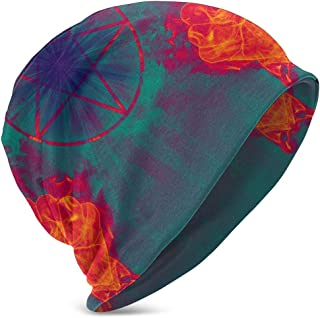 Unisex Kids Beanie Caps Devil with Pentagram Portal to Hell 3D Printing Slouchy Winter Summer Knit Skull Hat Ski Hat Snapback for Girls Boys Black