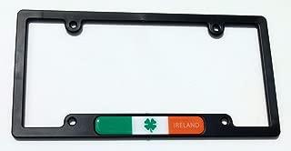 Ireland Irish Flag Black Plastic Car License plate frame domed decal shamrock