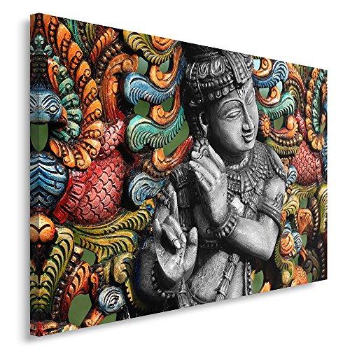 Feeby. Cuadro en lienzo - 1 Parte - 50x70 cm, Imagen impresión Pintura decoración Cuadros de una pieza, BUDA, RELIGIÓN, CULTURA, GRIS