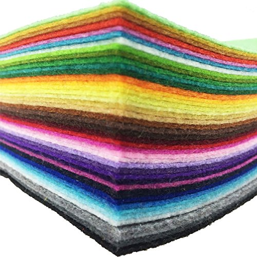 "flic-flac 42pcs 8""x8"" (20x20cm) Felt Fabric Sheet Assorted Color Felt Pack DIY Craft Squares Nonwoven"
