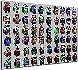 Coobal Among Us Pintura e impresiones de videojuego de baño, decoración de pared para sala de estar, decoración del hogar, 61 x 91 cm, sin marco