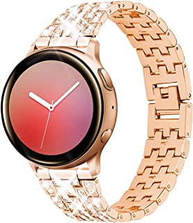 Beuxece Smart Watch Band Compatible with Samsung Galaxy Watch 42mm, Active 2 40mm / 44mm Active 40mm, Samsung Gear Sport S2 Classic for Women Metal Jewelry Watch Strap, Replacement Bracelet Rose Gold