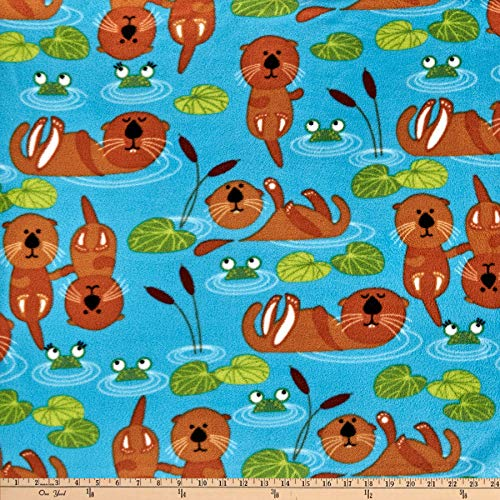 Baum Textiles Winter Fleece Otters Fabric, Multicolor, Fabric By The Yard