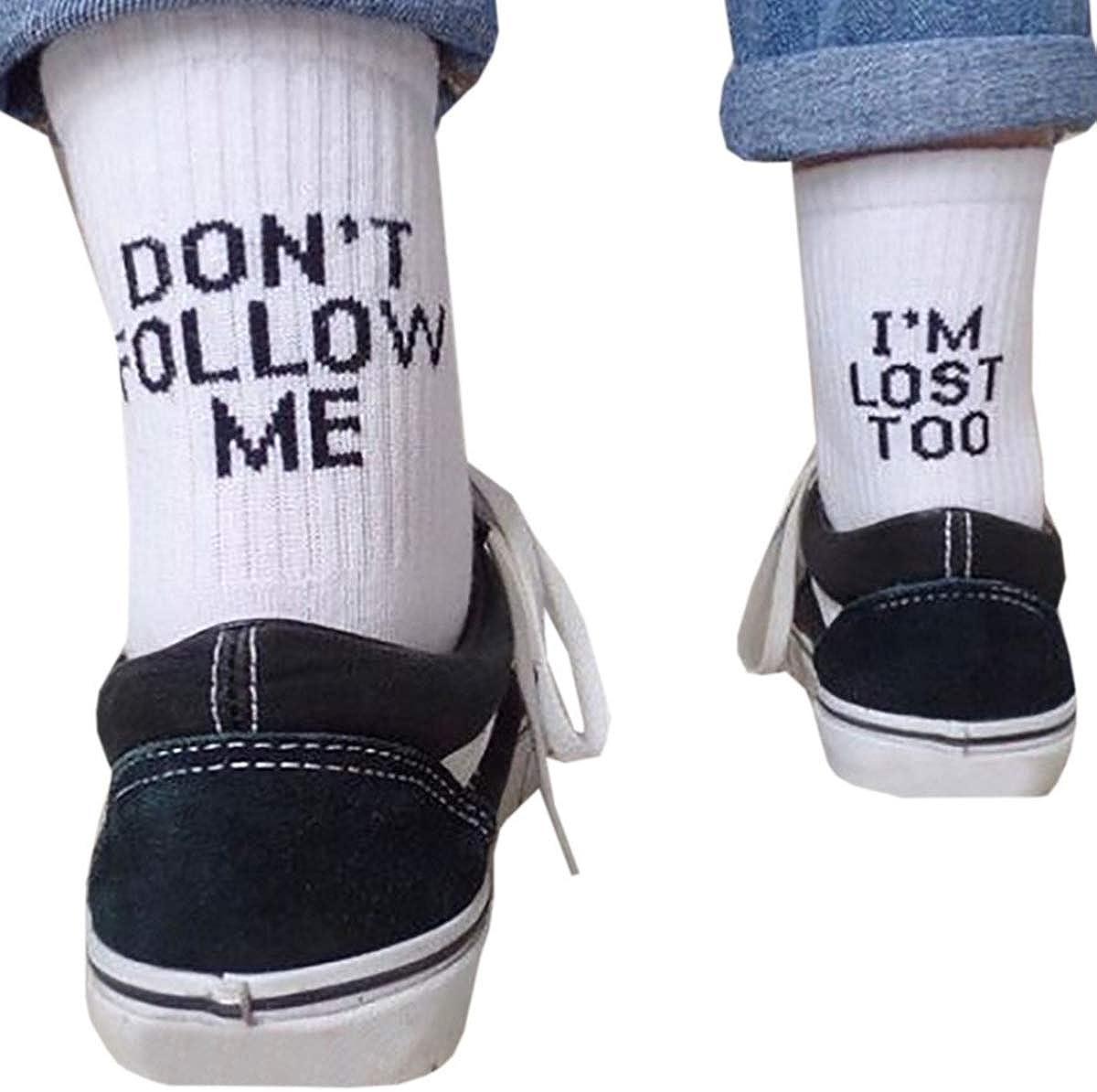 DERCLIVE Fashion Men Women Letter Funny Casual Sport Cotton White Black Skateboard Socks,Black/White