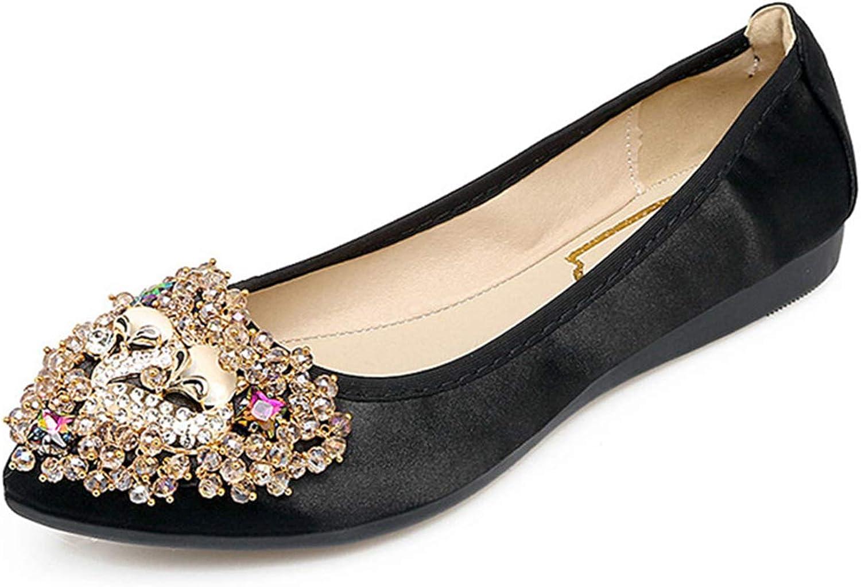Owen Moll Women Flats, Fashion Pointed Toe Slip On Rhinestone Decoration Loafers shoes