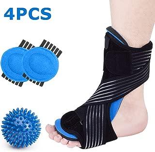 Plantar Fasciitis Night Splint Foot Brace Support Kit for Sleep, Adjustable Dorsal Plantar Fasciitis Splint + Arch Supports + Spiky Massage Ball for Arch, Heel, Foot Drop Pain